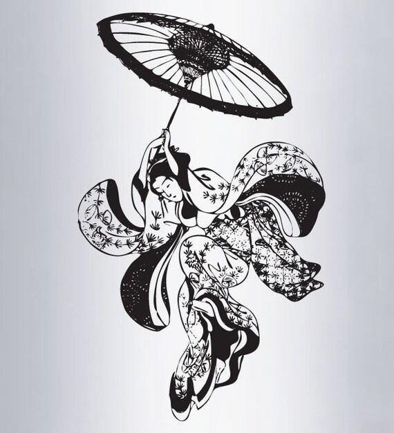 Vinyl Wall Decal Sticker Vintage Japanese Geisha Dancer 307s
