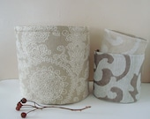 Large Linen Fabric Bin w/ Natural Grey / White Lace