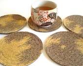 Cotton Felt Coasters / Round / Yellow Brown Flames / Set of 6