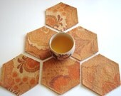 Cotton Felt Coasters in Orange Hexagon / Set of 6