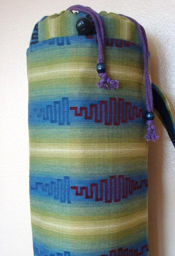 Green Blue Ambries Stripe Yoga Mat Bag