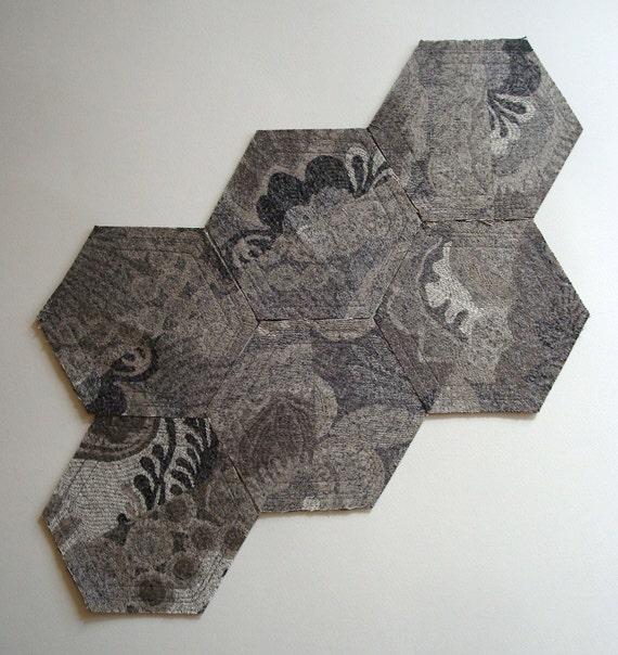 Cotton Felt Coasters in Gray Hexagon / Set of 6