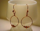 Copper hoop earrings with amber bicones - Tantalizing Amber