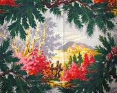 Vintage Bark Cloth  Pair of Curtain Panel's x 2 ,1940s/50's A Place In The Sun,