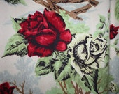 Large Stunning RED ROSES 1940s Bark Cloth CURTAIN Panel