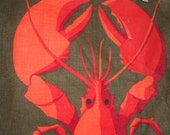 Vintage 1970s LOBSTER LINEN Tea Towel