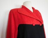 SALE Vintage 1940s RED and Black WOOL Coat