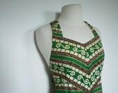 Vintage 1950s Green TIKI DRESS with Adjustable Straps Rockabilly Hawaii