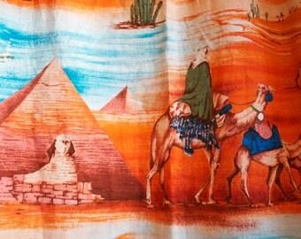 RARE Vintage 1950s EGYPTIAN Barkcloth Curtain Panel