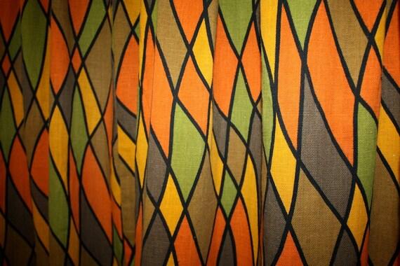 Vibrant 1960s Kitschy MOD Triangle BRIGHT Curtain panels