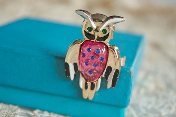 Vintage 1960s PINK OWL Brooch with Green Rhinestones Eyes and Blue Belly NOS