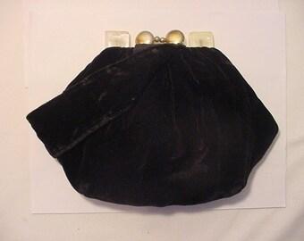 Vintage Black Velvet Purse With Lucite Decoration    Very Clean & Nice   # HAS 17