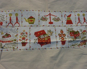 Vintage Table Cloth   Early Americana Theme   # HAS 3