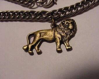Vintage Silver Tone Metal Bracelet With Gold Tone Metal Lion Charm   11 - 1109