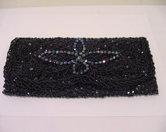 Vintage Black Beaded And Sequined Evening Clutch Hand Made In Hong Kong   2011 - 1570