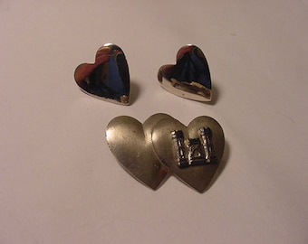 Vintage 1945 Sterling Silver Double Heart Brooch And Screw On Earring Set  2011 - 1743