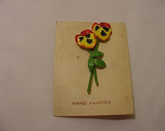 Vintage Hand Painted Pansy Flower Brooch  2011 - 1784