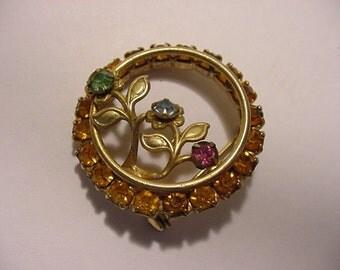 Vintage Rhinestone Flower Brooch  2011 - 568