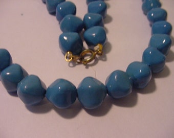Vintage Blue Plastic Bead Necklace   11 - 1942