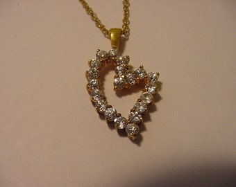 Vintage Rhinestone Heart Necklace  11 - 1945