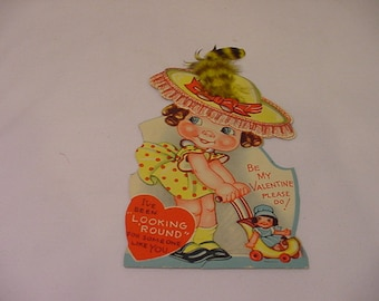 Vintage 1940 Valentine Day Stand Up Card With Real Feather No 2    # HAS 42