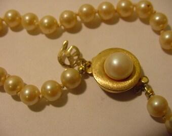 Vintage 14 / 20 GF Faux Pearl Bracelet  11 - 1959