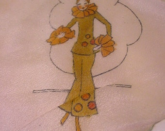 Vintage Silk Ladies Handkerchief With Deco Lady On It    11 - 1967