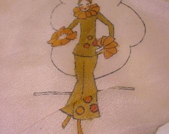 Vintage Silk Ladies Handkerchief With Deco Lady On It    11 - 1967