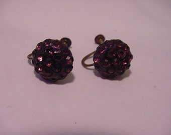 Vintage Purple  Rhinestone Screw On Earrings  11 - 1971