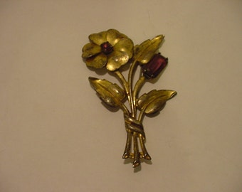 Vintage Sterling Silver Flower Brooch  11 - 1411