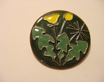 Vintage Enamel Over Copper Flower  Brooch  11 - 819