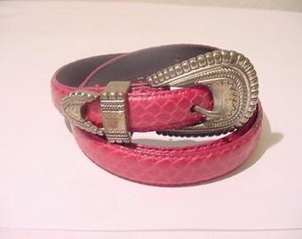 Vintage Liz Claiborne Genuine Snake Skin Belt  Size Large   11 - 1992