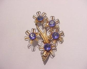 Vintage  Blue Rhinestone Flower Brooch  12  - 11