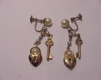 Vintage Heart Lock And  Key  Screw On Dangle Earrings  12 - 27