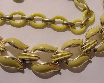 Vintage Yellow Enameled And Celluloid Adjustable Necklace  12 - 33