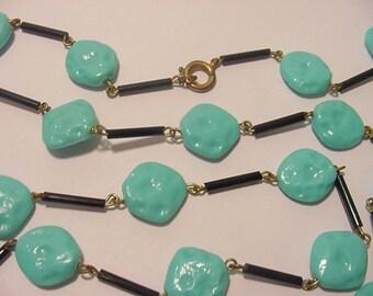 Vintage Faux Turquoise Necklace  12 - 52