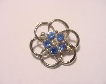 Vintage Blue Rhinestone  Brooch.  12 - 76