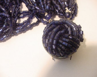 For Parts Only Vintage Navy Blue Glass Bead Necklace   11 - 1263