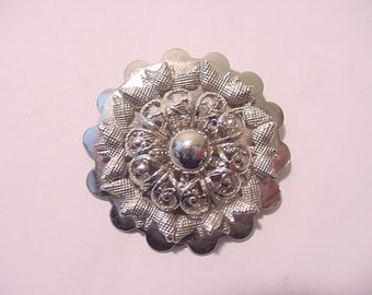 Vintage Silver Tone Metal Flower Design Scarf Holder  12 - 351
