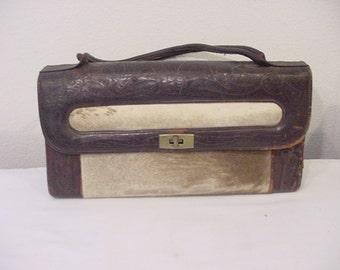 Vintage  Leather And Cow Hide Hair Handbag  12 - 372