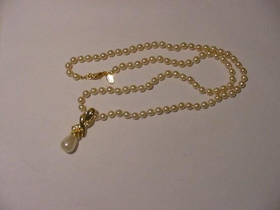 vintage nolan miller simulated pearl necklace enhancer