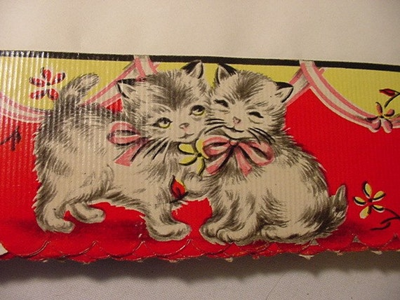 Vintage Cat Kitten Royledge Shelf Lining Paper & Edging    Very Cute