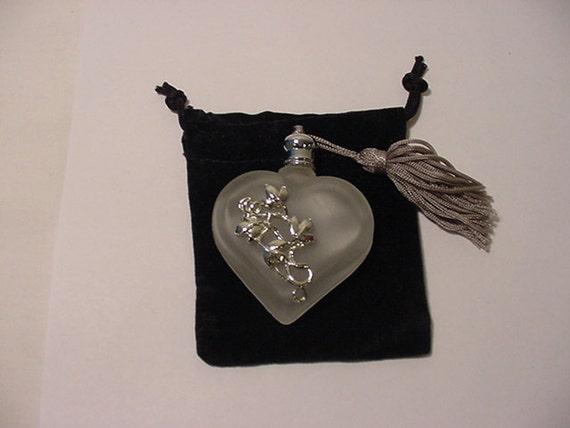 Vintage Frosted Glass Heart Perfume Bottle With Velvet Case & Dropper  2011 - 560