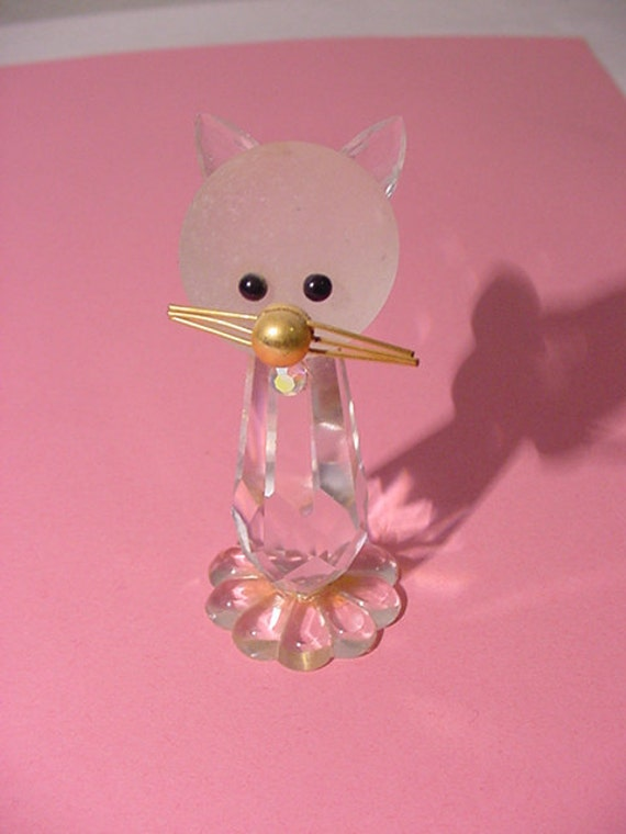 Vintage Bohemia Crystal Cat Or Kitten Figurine Made In Czechoslovakia