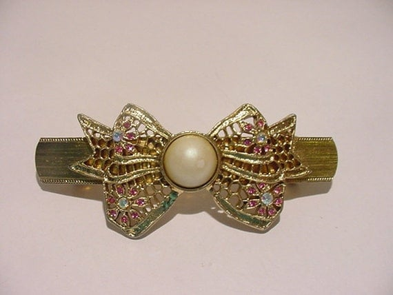 Vintage Made In France Pink Rhinestone And Faux Pearl  Bow Hair Barrett  11 - 747