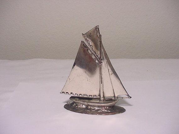 Vintage Japan Metal Sail Boat Figurine  12 - 214