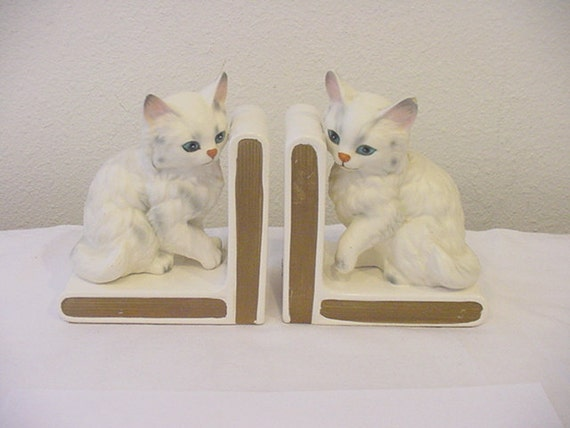 Vintage Lefton White Persian Cat Or Kitten Bookends
