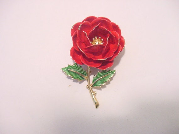 Vintage 1960's Era Crown Trifari Red  Flower Brooch  12 - 286
