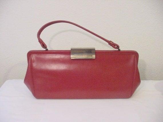 Vintage  Michels Drew Red  Vinyl Hand Bag 12 - 382