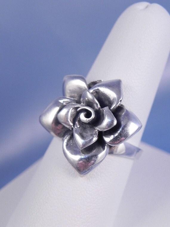 Vintage Sterling Rose Flower Ring FREE SHIPPING